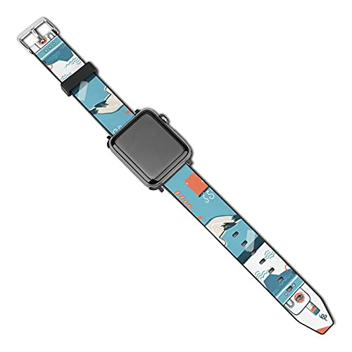 Doodle North Sea Scandinavian Animals Natural Compatible con Apple Watch Band 38 mm 40 mm Correa de repuesto de cuero Correa de moda Compatible con iWatch Series 5 4 3 2 1