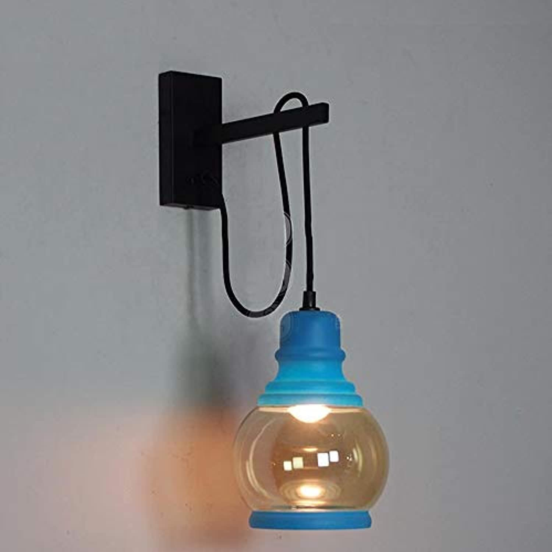 Wandleuchte - American Retro Glasflasche Bügeleisen Art Wall Lampe Nachttischlampe Korridor Kreativwirtschaft Wandleuchten - wall Beleuchtung Dekoration (Farbe  C)