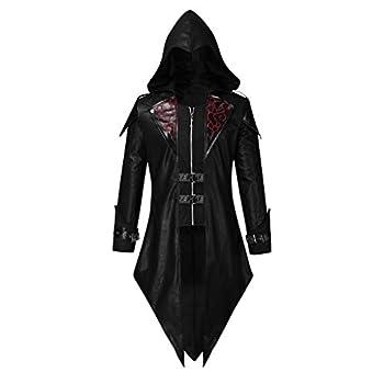 Mens Tailcoat Jacket Retro Court Goth Steampunk Uniform Hoodie Praty Outwear Coat Cap Dovetail Stage Jacket S-5XL