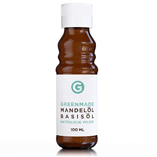 Mandelöl 100ml - reines Basisöl zur veganen Pflege von Haut und Haaren - in lichtgeschützter Glasflasche