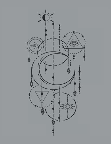 Halbmond Auge Tarot Witchcraft Astrologie Tattoodesign Line Art: 101 Mandalas - MALBUCH - Lustiges Witchcraft Okkult Geschenk - A4 (8,5x11) - 101 ... - Entspannen - Anti Stress - Ausmalen