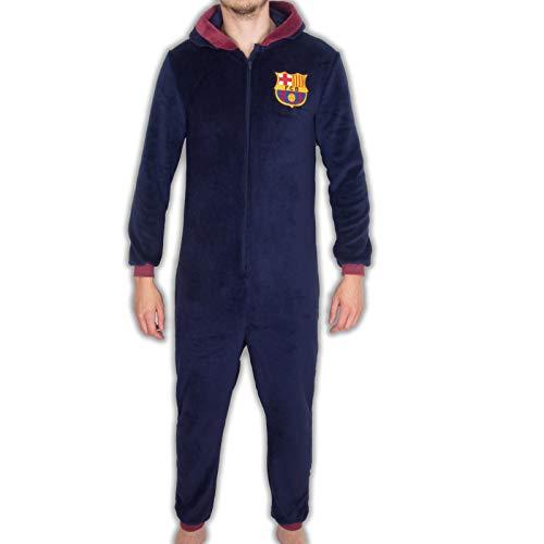 FC Barcelona - Pijama de una Pieza con Capucha para Hombre - Producto Oficial - Azul Marino - L