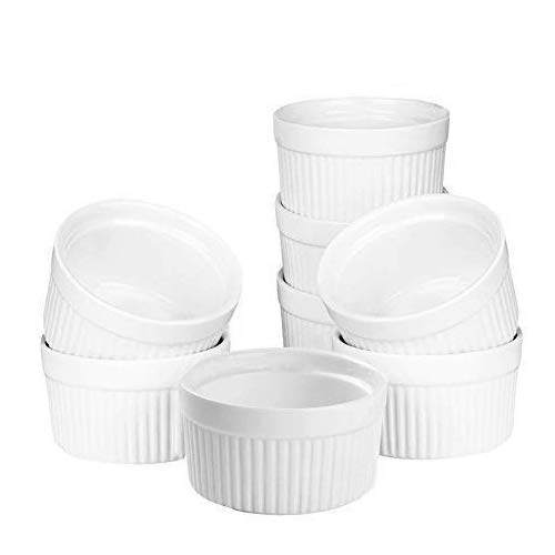 Set of 8 PCS 6 oz Round Porcelain Oven Safe Ramekin Dessert Souffle Baking Dish(3.5 INCHES) (WHITE)