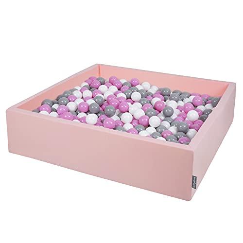 KiddyMoon Piscine À Balles 120X30cm/600 Balles Grande Carré pour Bébé, Fabriqué en UE, Rose:Gris-Blanc-Rose