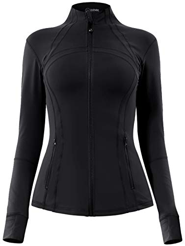 QUEENIEKE Women's Sports Define Jacket Slim Fit and Cottony-Soft Handfeel Size L Color Black Pro