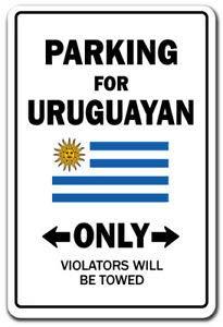 Inga Cartel de metal vintage con texto en inglés 'Parking For Uruguayan Only Uruguay'