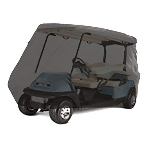HYDT Funda Impermeable para Carrito de Golf, Resistente al Sol, Compatible con EZ GO, Club Car y Yamaha, Resistente al Polvo y Duradera Funda Exterior con Bolsa de Almacenamiento, Color Negro