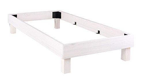 Home4You Bettgestell Massivholzbett Einzelbett | 90 x 200 cm | Weiß | Kiefernholz massiv