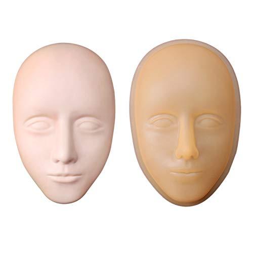 SNOWINSPRING Protable Mannequin en Silicone Souple Modèle Tête Plate Pratique de la Pratique Maquillage Maquillage Formation Modèle Extensions de Cils Beauté