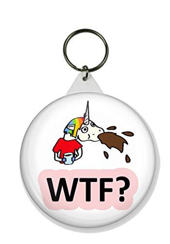 Gifts & Gadgets Co. Einhorn WTF? Schlüsselanhänger Drink Tastes Awful, rund, 58 mm Durchmesser, groß