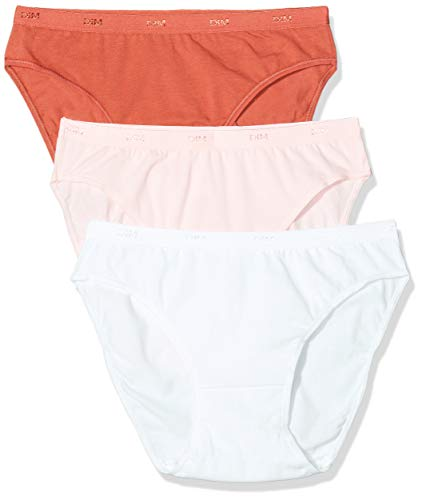 Dim Damen Les Pockets Coton X3 Slip, Mehrfarbig (Rose Ballerine/Apfel Gala/Weiß 95 m), 34 (3er Pack)