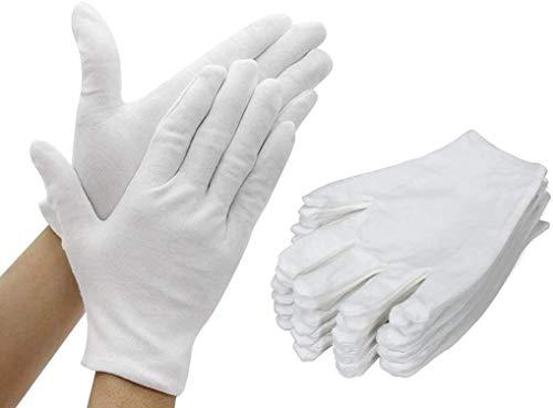 AYUQI Gants en coton blanc, 12 paires de gants en coton doux,Gants de travail quotidiens pour hommes et femmes,Mains sèches et eczéma,cosmétiques hydratants,Bijoux en argent,Inspection des costumes-L