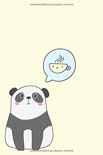 Kaffee Panda Notizbuch: 120 Seiten liniert | 15,24 x 22,86 cm (6
