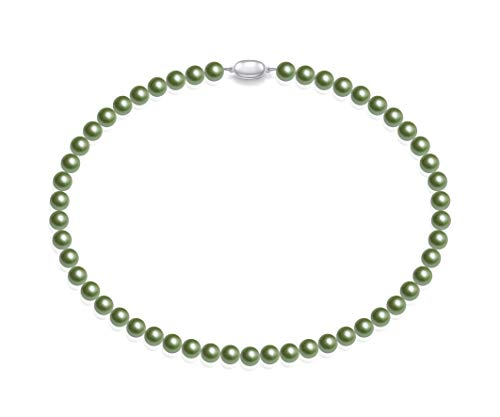 Schmuckwilly Muschelkernperlen Perlenkette Perlen Collier - grün Hochwertige Damen Muschelkernperlen Kette aus echter Muschel 45cm 8mm mk8mm078-45