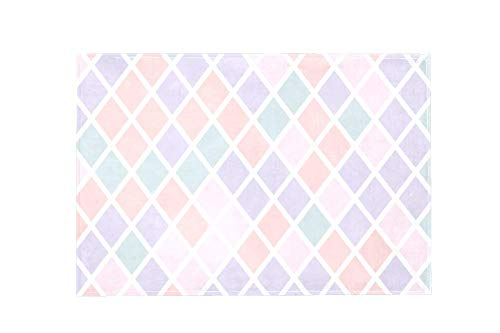 Area Rug Easy to Clean Stain Fade Resistant Shed Free,Elegant Pastel Diamond Shapes Geometric Print Foam Play Mat Living Room Floor Mats Baby Crawling Mats Climbing Pad Nursery Rug Carpet 60'x39'