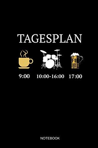 Tagesplan Notebook: Liniertes Notizbuch - Tagesplan Kaffee Schlagzeug Bier Drummer Musiker Geschenk