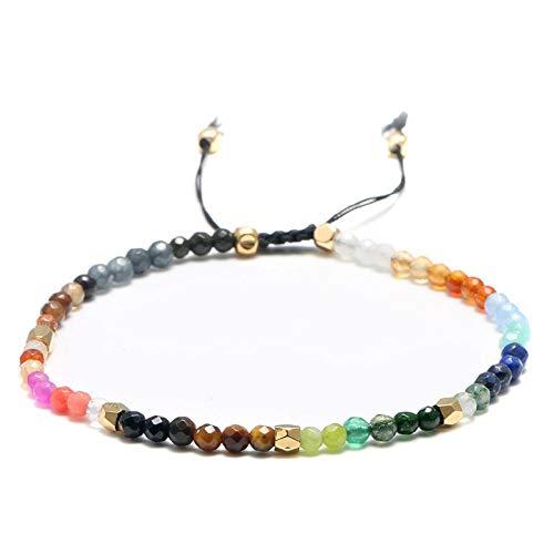 Armband sieraden 3Mm Healing Crystal Hollywood Kraal 7 Chakra Armbanden Voor Vrouwen 12 Sterrenbeeld Lucky Stone Zodiac Armband Reiki Gebed Bijoux