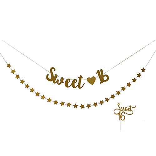 Amosfun Sweet 16 Banner Sweet 16 Cake Topper Golden Glitter 16th Birthday Bunting Banner Star Banner Sweet Sixteen Decorations for Birthday Party Supplies
