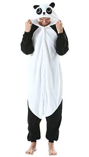 Jumpsuit Onesie Tier Karton Kigurumi Fasching Halloween Kostüm Lounge Sleepsuit Cosplay Overall Pyjama Schlafanzug Erwachsene Unisex Panda for Höhe 140-187CM Damen Herren