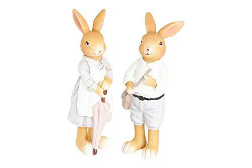 HEITMANN DECO Keramik Hase und Häsin - Dekofiguren Hasen-Paar, Osterhasen - Osterdeko, Frühling - 2er Set - Braun, Weiß, Grau, Pink