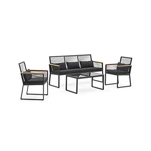 Oviala Salon de Jardin 1 canapé 2 fauteuils 1 Table Basse Noir Rectangulaire 164 x 60 x 84 cm Aluminium 5 Places Agde