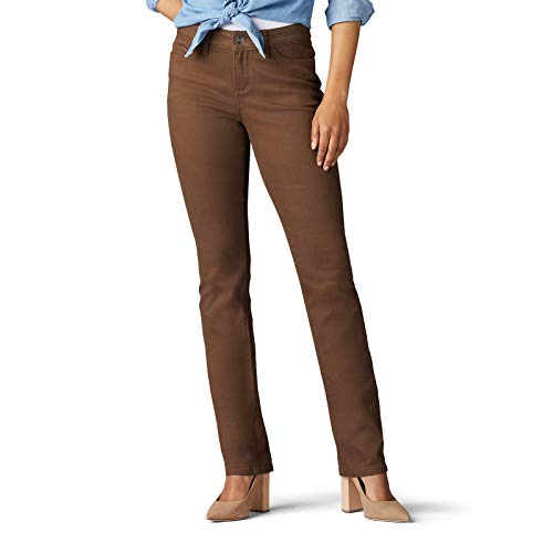 Lee Damen Secretly Shapes Regular Fit Straight Leg Jeans, Woodspice Brown, 50