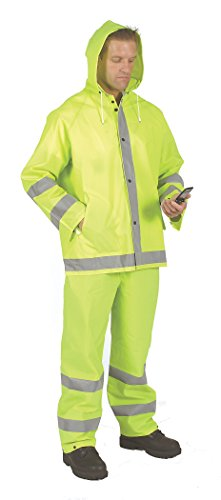 Galeton 8000975-XXL 8000975 Repel Rainwear Reflective 0,35 mm PVC Regenkombi Lime, XXL