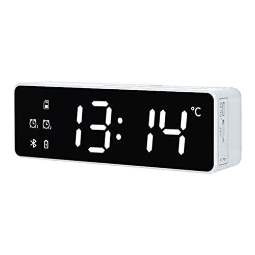 Radio Despertador con Puertos USB De Carga, Volumen De Alarma Ajustable, Pantalla del Termómetro, Radio FM con Temporizador De Sueño, Tamaño Pequeño para Dormitorios (Color : White)