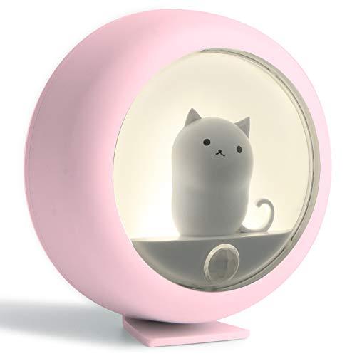 Nachtlicht Stilllicht Nachtlampe Dimmbar Schlummerlicht Katzenform LED Schlaflicht Bewegungsmelder 2 Helligkeitsstufen Stimmungslicht Stillen wickellicht für Kind baby Kinderzimmer Schlafzimmer (rosa)