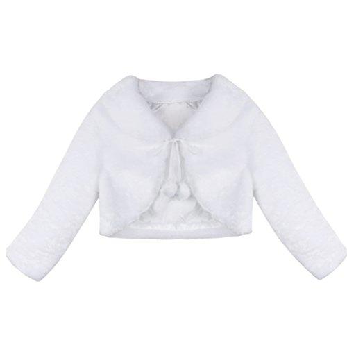 TiaoBug Bolero de Fiesta Boda Cumpleaños Blanco Niñas Chaqueta Peludo Princesa Elegante para Otoño Invierno Blanco 12-18 Meses
