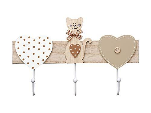 SPOTTED DOG GIFT COMPANY Hakenleiste Kleiderhaken mit 3 Haken Holz Garderobenhaken Garderobenleiste Handtuchhalter für Jacken Kleidung - Katzen und Herz Deko