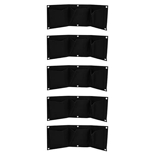 Jardinera jardín de pared vertical de 5 piezas con 3 bolsil