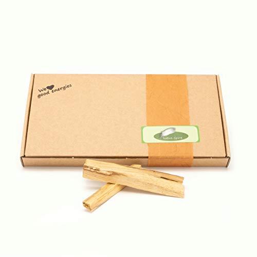 Native Spirit: Premium Palo Santo 80gr feine geräucherte Holzstäbchen - fairer Handel & nachhaltige Ernte - je ca. 1x1x10 cm lang, Holzstäbchen aus Peru in Einer umweltschonenden Verpackung