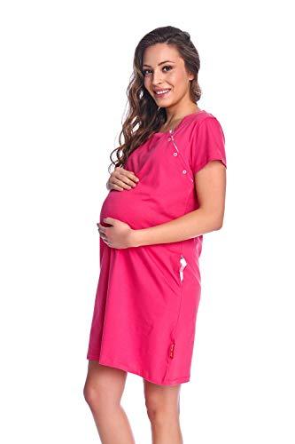 dn-nightwear Camiseta de maternidad para mujer TM.8061 de 100 % algodón Rosa caliente 20.1 M