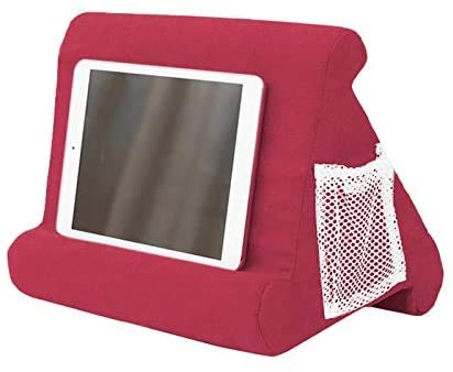 Multi Angle Soft Tablet Pillow Stand for iPad,Tablet Stand Pillow Holder, Pillow Pad Reading Stand, Multi-Angle Soft Pillow Lap Stand (First-generation mesh bag wine red color)