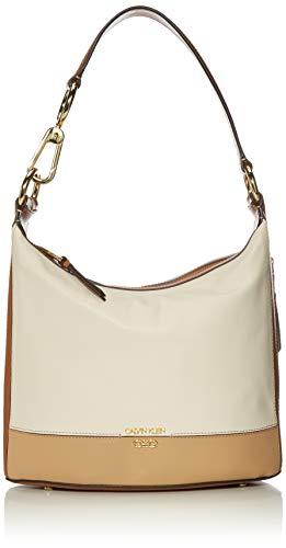 Calvin Klein Sophia Micro Pebble Leather Hobo Shoulder Bag, White Combo
