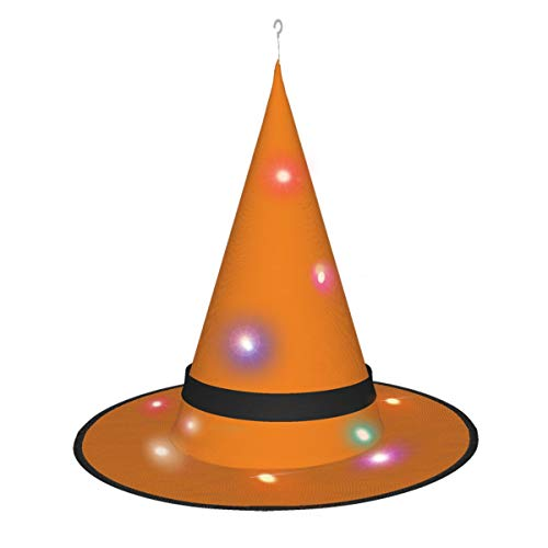 Dihui Orange Halloween Glowing Hat, Outdoor, Garden, Trees, Party Decoration, Outdoor Halloween Decorations, Witch Hat with Lights.