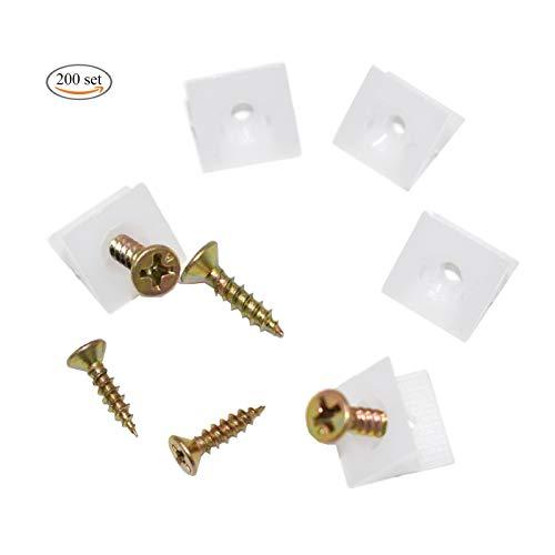 Xiuyer 200 Stück Rückwandverbinder Schubladeboden Halter Stabilisatoren Kunststoff Keil Rückwandhalter mit Schrauben für Durchhängende Schubladen-Böden und Möbel Schrankvorstand