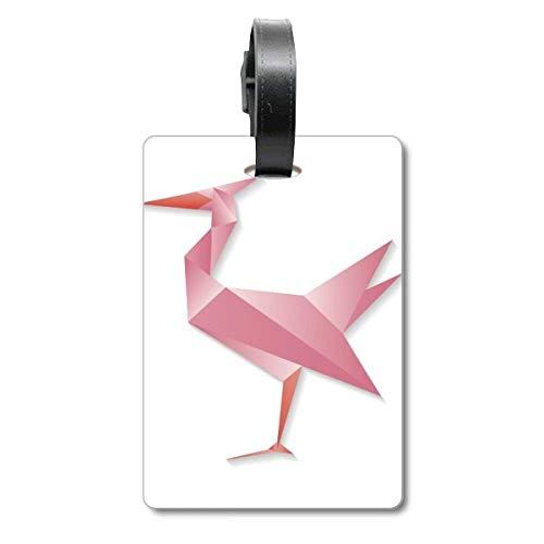Etiqueta geométrica Abstracta con diseño de flamencos de Origami, para Maleta de Crucero, Etiqueta de identificación de turista