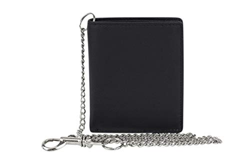 Minibörse extra flach mit Kette im Hochformat dünn, flaches Portemonnaie mit RFID Schutz, Biker Wallet mit Block Folie mit Geschenk Box LEAS in Echt-Leder, schwarz
