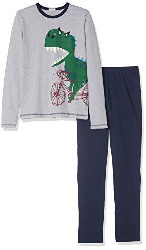 Undercolors of Benetton Jungen Lutk Fashion 2nd Del Zweiteiliger Schlafanzug, Mehrfarbig (Grigio Melange/Blu Scuro 501), 110 (Herstellergröße: X-Small)
