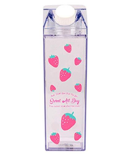 MiawPay Milchkarton-Wasserflasche, 500 ml, Kunststoff, transparent, quadratisch, ohne BPA, auslaufsicher, tragbar, wiederverwendbar, für Fitness, Fitnessstudio, Camping, Sport
