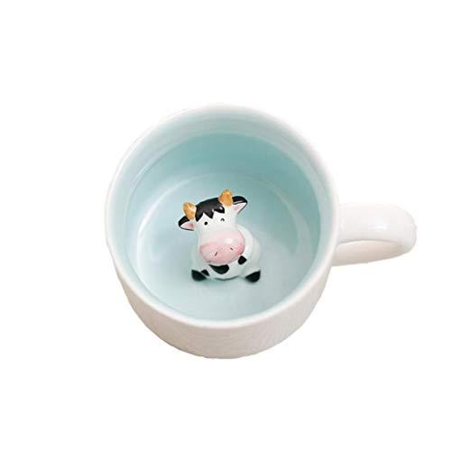 MaylFre 3D Keramik Tierhandarbeit Kaffeetasse Lustige Keramische Schalen Handgemachte Kreative Kunst-Becher Entzückende Design Milch-Cup 400ml / 14,1 Unzen (Kuh) 1pc-Hand Gemalt