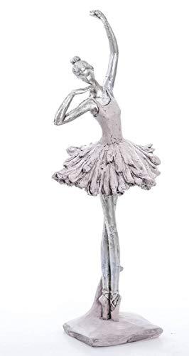 DRW Figura de una Bailarina Resina, Blanco y Plateado, 13 x 11 x 34 cm