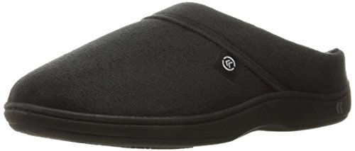 isotoner Men's Devin Gel Infused Memory Foam Slip on Slipper, Microsuede Black, Large