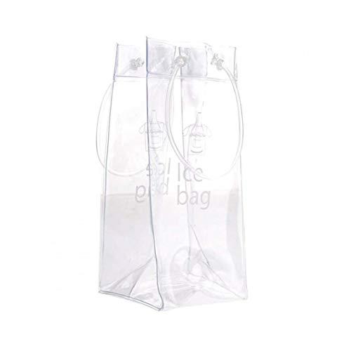 Uayasily Vino 2pcs Hielo Bolsa portátil Plegable de PVC Transparente Claro de Hielo Bolsa Bolso más Fresco con Mango de Vino Blanco Champagne Cerveza fría