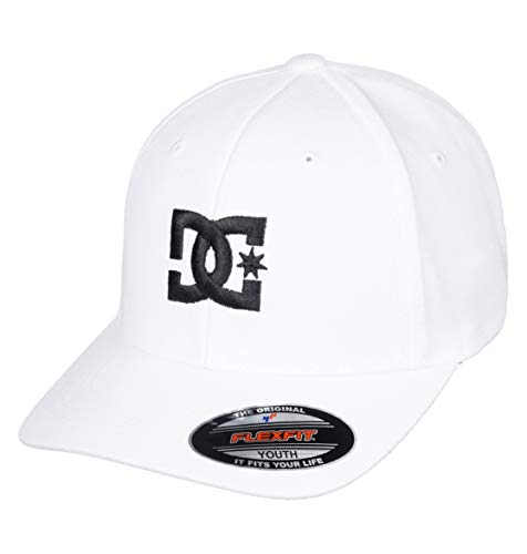 DC Shoes Cap Star-Gorra Flexfit para Chicos 8-16, Niños, White/Black, 1SZ