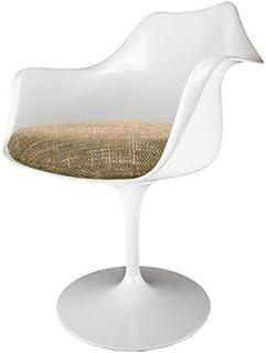Eero Saarinen butaca de Estilo tulipán Beige Blanco y Texturizado