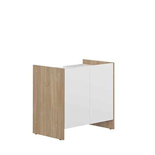 Symbiosis wastafel, 2 deuren, eikenhout Hedendaagse Natuurlijke eiken/wit