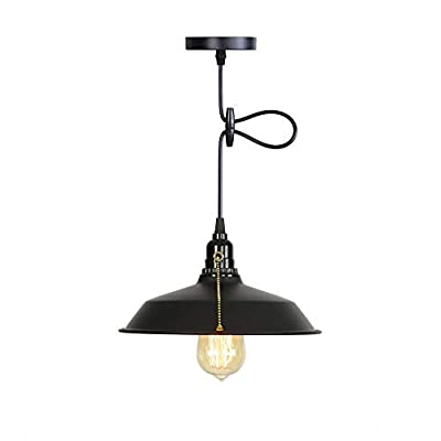 NAFEEZA Industrial Pendant Light,On/Off Pull Chain Switch Pendant Light,Industrial Antique Pendant Ceiling Light Fixture for Hallway Basement Kitchen Garage Barns